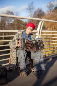 Busking on the Bridge in Sophia Gardens, Cardiff
